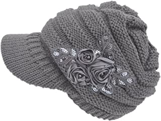 haoricu Beret Cap, Fashion Womens Flower Knit Crochet Beanie Hat Winter Warm Cap