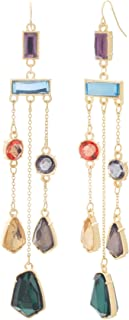 Multi-Colored Yellow Gold-Tone Chandelier Earrings for Women (Various Colors)