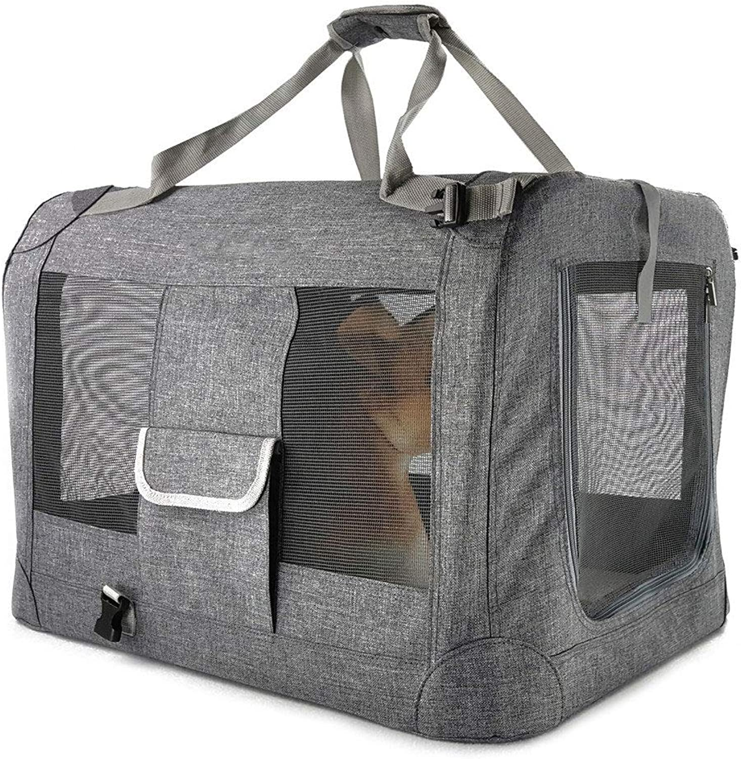 Obzk Car Pet Cage Backpack Portable Comfortable Breathable Tote Suitable For Small Cats And Dogs Pet Supplies,Light grey,M