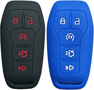2Pcs Coolbestda Silicone Smart Key Cover Shell Case Keyless Entry Holder for Ford F-150 Lincoln Fusion MKZ Mustang MKC 5 Buttons Smart Key Blue Black