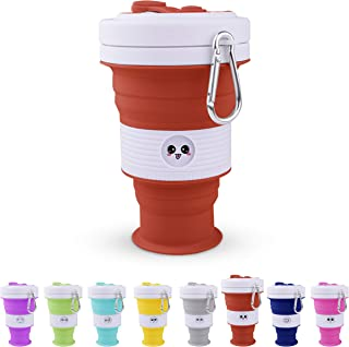 NEW Silicone Travel Coffee Cup - Collapsible Folding Emoji Cup - Reusable Camping Cup by MOM'S KITCHEN (Dark Brown, 550ml)