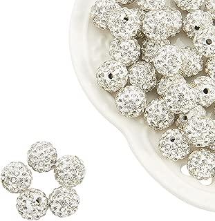 NBEADS 100pcs Redonda polímero Arcilla Pave Disco Perlas de Brillantes Shamballa de Cristal para Joyas, 10mm, Agujero: 1,5mm