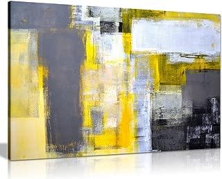 Panther Print Lienzo Decorativo para Pared con diseño Abstracto de Office Art, Color Gris y Amarillo (24 x 16)