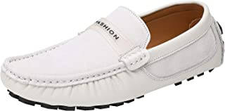 rismart Men's Classic Leather Loafers Slip on Driving Flats Home Slippers