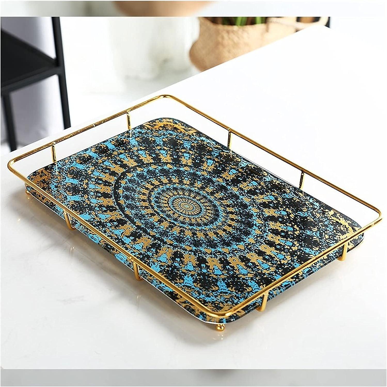 Chenhan Vanity Max 68% OFF New Orleans Mall Tray Ceramic Jewel Marble Decor