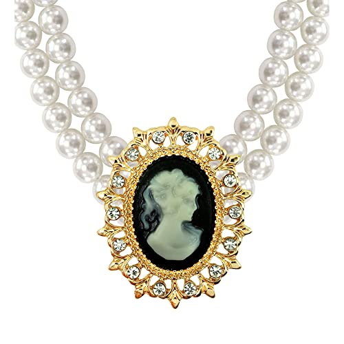 LADIES CAMEO PEARL CHOKER VICTORIAN FANCY DRESS COSTUME ACCESSORY