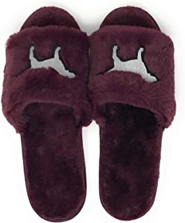 Victoria's Secret PINK Slide on Fuzzy Slippers Black Orchid