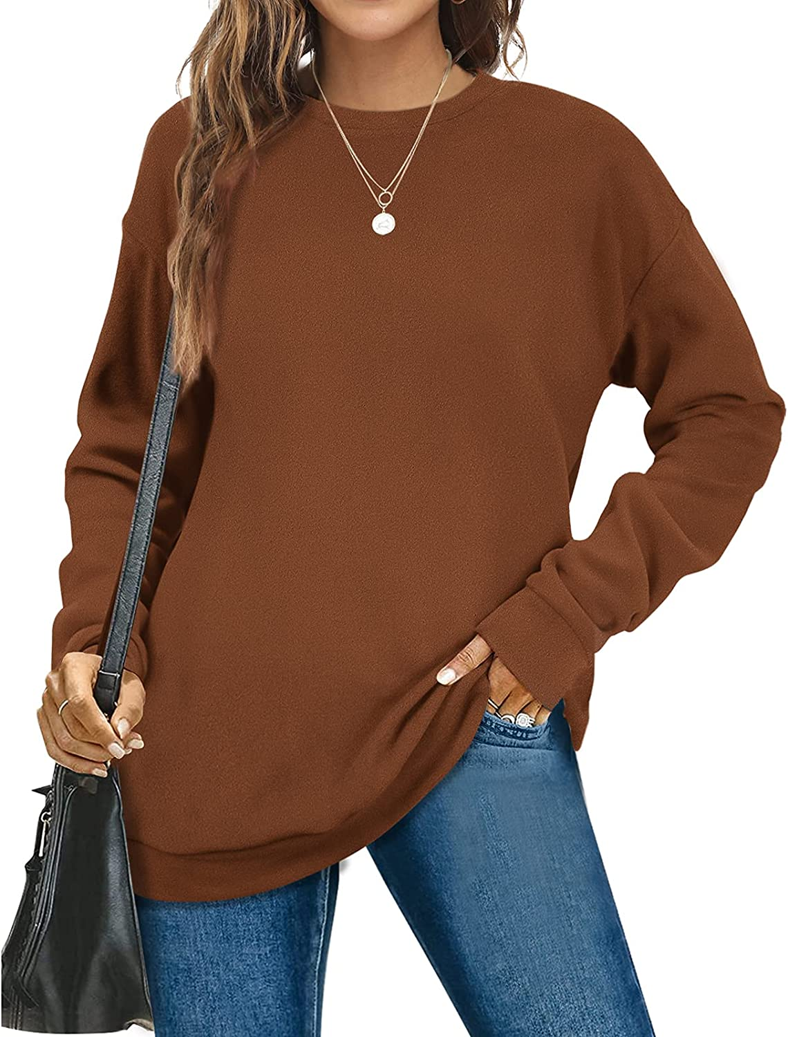 Sweatshirts for Women Crewneck Long Sleeve Solid Color Soft Fashion Tops
