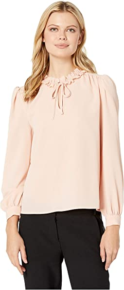 Long Sleeve V-Neck Blouse w/ Ruffled Collar
