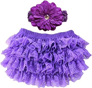 Wennikids Lace Ruffle Diaper Cover Bloomer and Headband Set for Baby Girls