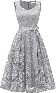 56d0bffbaf5bd Gardenwed Women s Vintage Floral Lace Cocktail Evening Party Dress Elegant  V-Neck Bridesmaid Dress