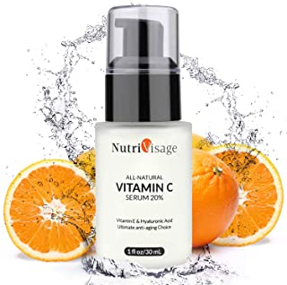 NUTRIVISAGE Vitamin C Serum for Face and Eyes w/Hyaluronic Acid Serum & Vitamin E,Non-Irritating, Natural Facial Serum for Acne, Anti Wrinkle, Anti Aging, Fades Age Spots and Sun Damage.