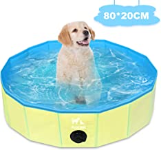 Zacro Foldable Small Dog Pool - Pet Dog Cats Paddling Bath Pool, Small Outdoor Bathing Tub for Dogs Cats and Kids (31.5 X ...