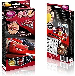 Disney Cars 3 Kit de Tatouage à Paillettes, 12 Impressionnante Pochoirs – hypoallergénique, cruauté Gratuit – Durable pour...