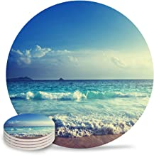 Coasters for Drink Absorbent Stone Funny Tropical Beach Ocean Waves Decorative Top with Cork Backings Set of 4