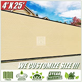 ColourTree 4' x 25' Beige Fence Privacy Screen Windscreen, Commercial Grade 170 GSM Heavy Duty, We Make Custom Size