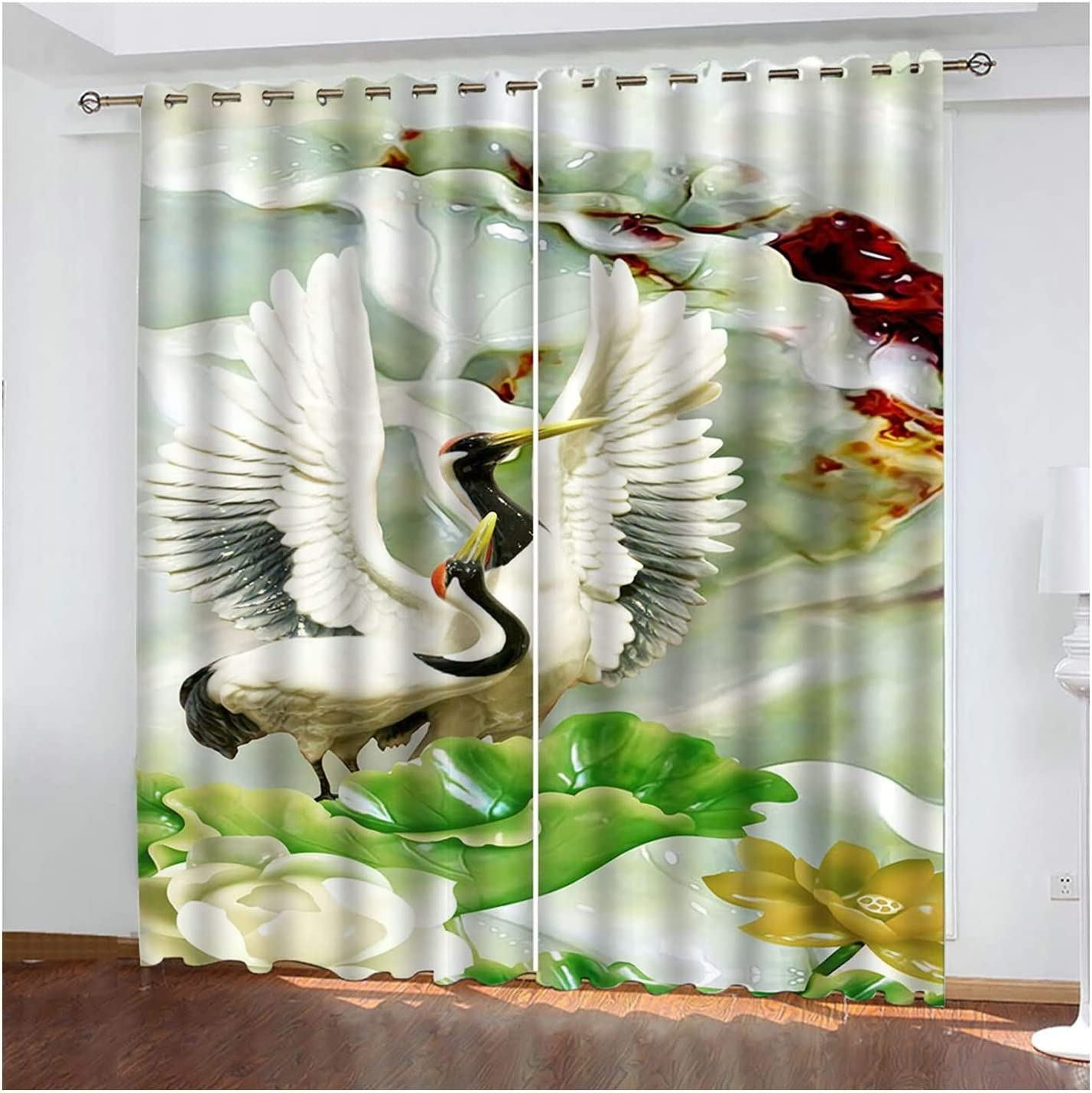 Blackout Curtains for Free shipping on posting reviews Living Popular overseas Room Flower Crane and Gr