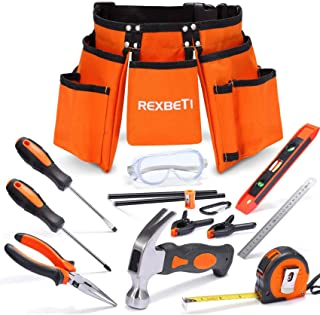 "REXBETI 15pcs Young Builder's Tool Set with Real Hand Tools, Reinforced Kids Tool Belt, Waist 20""-32"", Kids Learning Tool Kit for Home DIY and Woodworking"