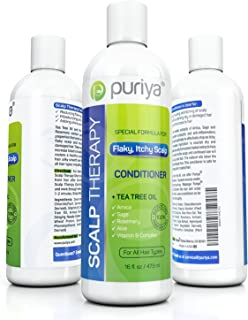 Puriya Tea Tree Deep Hair Conditioner. Plant-Rich Sulfate Free Treatment for Flaky Dry Scalp. Safe for Color Treated, Damaged, Curly Hair. Hair Moisturizer, Volumizer, Detangler for Men, Women. 16oz