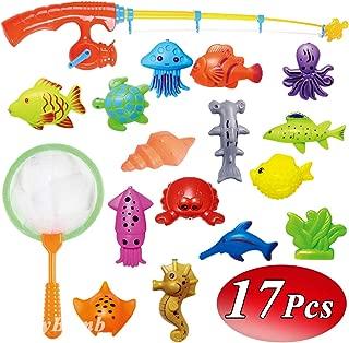 CozyBomB Kids Fishing Bath Toys Game - 17Pcs Magnetic Floating Toy Magnet Pole Rod Net, Plastic Floating Fish