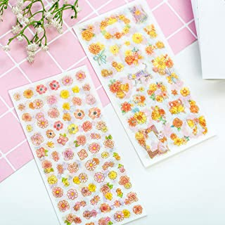 Natural Flower Plants Style Note Stickers, (6 Sheets) Garden Wildflowers Decorative Sticker for Scrapbooks, Notebook, Journal, Card Making, Album,Calendars,DIY Crafts (Flower)