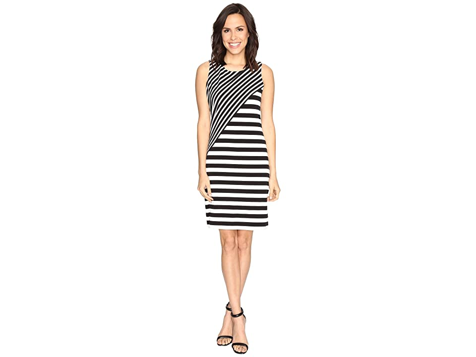 Calvin Klein Striped Combo Dress (Black/White) Women