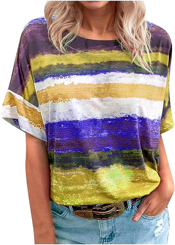 Womens Summer Tops Fashion Women Casual Gradient Contrast O-Neck Short Sleeve Tops T-Shirt Blouse Womens Tops