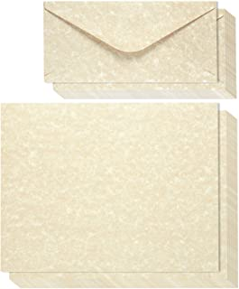 48-Count Writing Stationery Paper Letter Set with 48-Count Envelopes – Antique Parchment Paper, Old Fashioned Design, Vintage Scrapbook Paper - Printer Friendly, 8.5 x 11 Inches