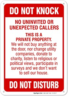 Do Not Knock Sign, No Soliciting Sign, Do Not Disturb Sign, 10x7 Rust Free Aluminum, Weather/Fade Resistant, Easy Mounting, Indoor/Outdoor Use, Made in USA by SIGO SIGNS