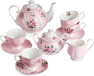 BTaT- Floral Tea Set, Tea cups (8oz), Tea Pot (38oz), Creamer and Sugar Set, Gift box, China Tea Set, Tea Sets for Women, Tea Cups and Saucer Set, Tea Set for Adults, 4 Tea Cups Set, Porcelain Tea Set