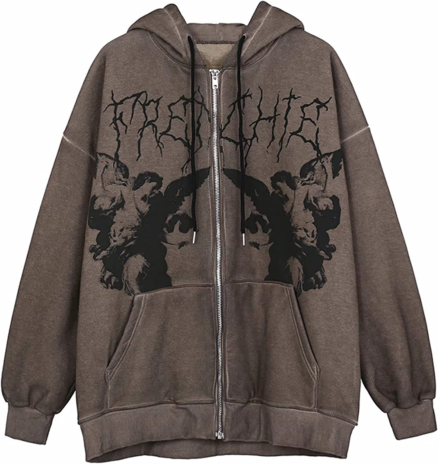 Womens Y2k Hoodie Long Sleeve Graphic Harajuku E Girl Vintage Tops Sweatshirt Zip Up Gothic Hooded Top with Pockets