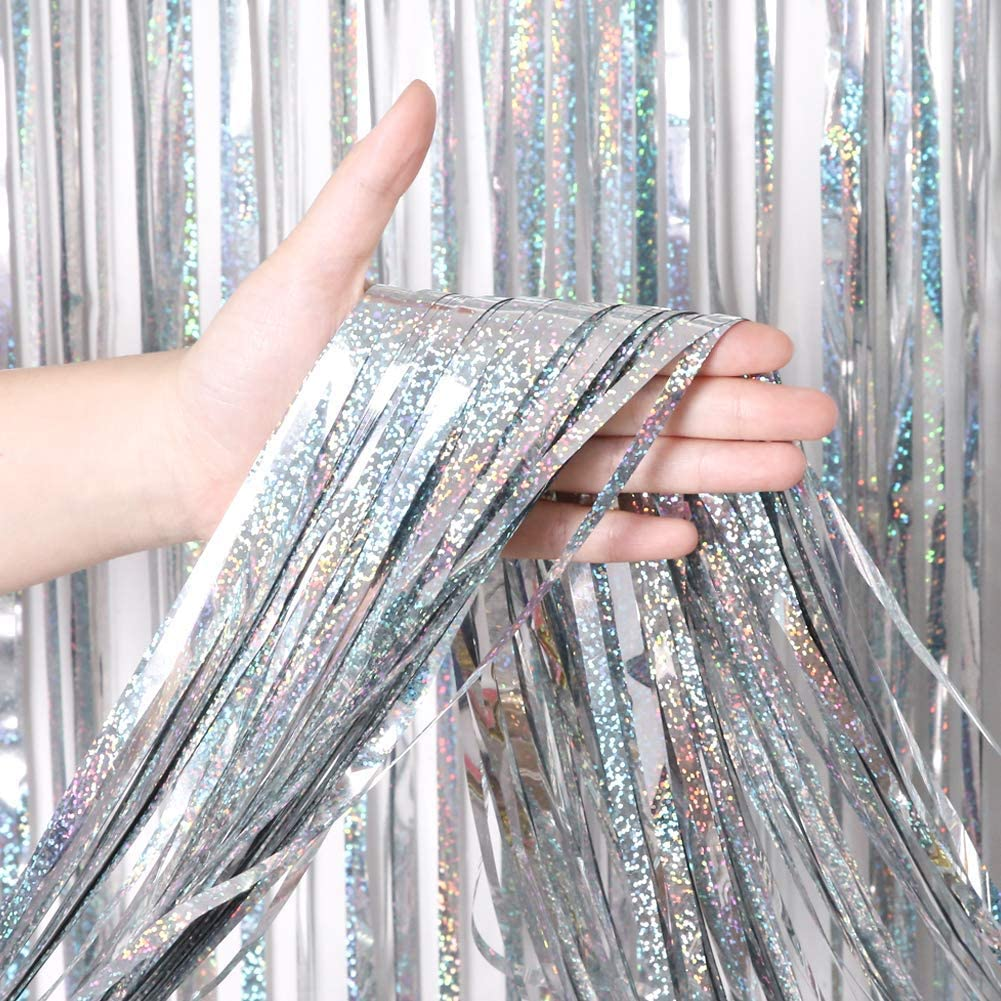 BTSD-home Holographic Silver Laser Foil Fringe Curtain, Metallic Photo Booth Tinsel Backdrop Door Curtains for Wedding Birthday Baby Shower Bachelorette Party Decorations(4 Pack, 12ft)