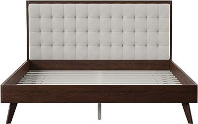 DG Casa 12050-Q-BGE Soloman Mid Century Modern Tufted Upholstered Platform Bed,
