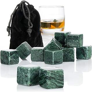 com-four 12x Whisky Steine in Granitoptik - Kühlsteine für Whiskey mit Aufbewahrungsbeutel aus Stoff - kein Verwässern mehr Granitoptik grau V3-12 Stück