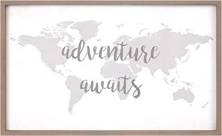 Patton Wall Decor Adventure Awaits World Map 18x30 Stretched Canvas Décor Framed Wall Art, White
