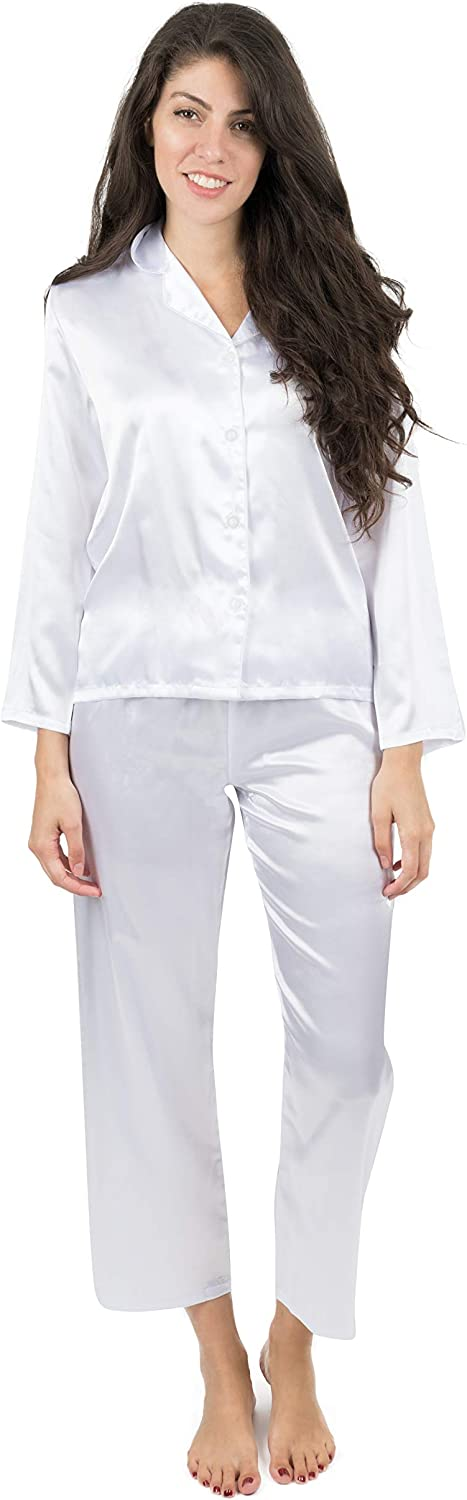 Leveret Womens Pajamas Christmas Satin Pajamas 2 Piece Pajama Set White Size XLarge