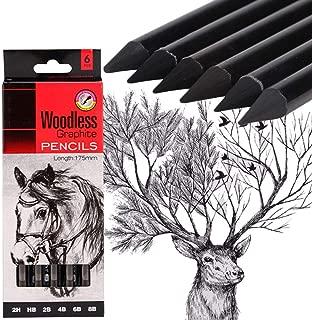 6-Pack Sketch Drawing Pencil Set Woodless Graphite Pencils 17.5cm 2H HB 2B 4B 6B 8B