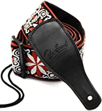 Guitar Strap Jacquard Weave Hootenanny Style & Genuine Leather Ends- Woven Braided Adjustable Strap (HJGS-0C)