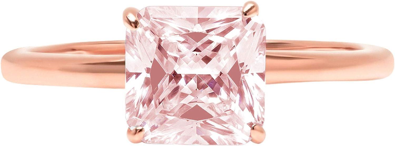 Department store Clara Pucci 1.0 ct Brilliant Boston Mall Asscher Solitaire Pink Cut Simulate