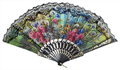 DollsofIndia Multicolor Floral Print on Cloth Fan - Side - 9 inches (LN57)