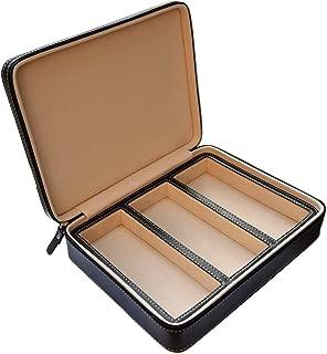 Beaufort 3 Slots Sunglasses Organizer PU Leather Eyeglasses Storage Box Travel Jewelry Display Case Watch Box for Women Men (3GL Black)