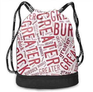 ジムサック Greater Burdock ゴボウ ナップサック 巾着袋 サブバッグ 超軽量 バッグ 男女兼用 大容量 Black One Size