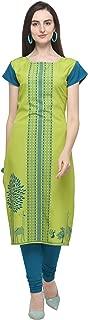 PURVAJA Women' Light Green Colour Short Sleeve Crepe Straight Kurta(parrot-deer-Eiffel)