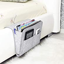 "House of Quirk Bedside Caddy| Ipad Holder | Dorm College Room, Bunk Bed, Hospital Bed, Kids Baby Bed | Hanging Storage Organizer | Remote Holder | Large Size 12.5"" x 8.2"" inch ((Light/Grey))"