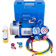 VIVOHOME 110V 1/4 HP 3.5 CFM Single Stage Rotary Vane Air Vacuum Pump and R134a AC Manifold Gauge...