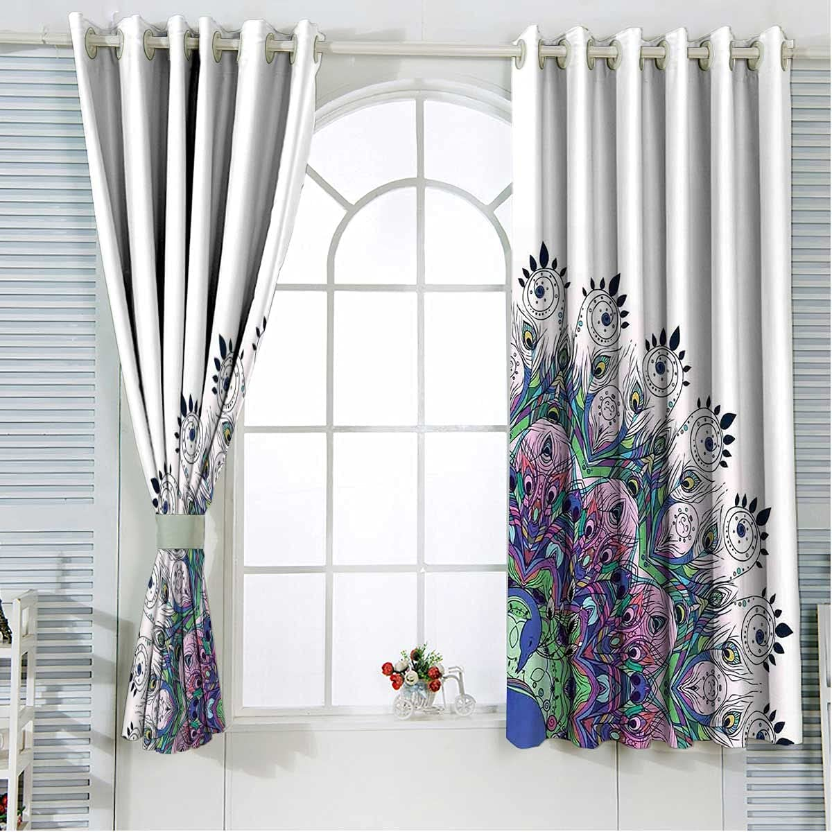 Peacock Popularity Decor Bedroom Blackout Curtains Kitche Max 51% OFF 84 Length Inches