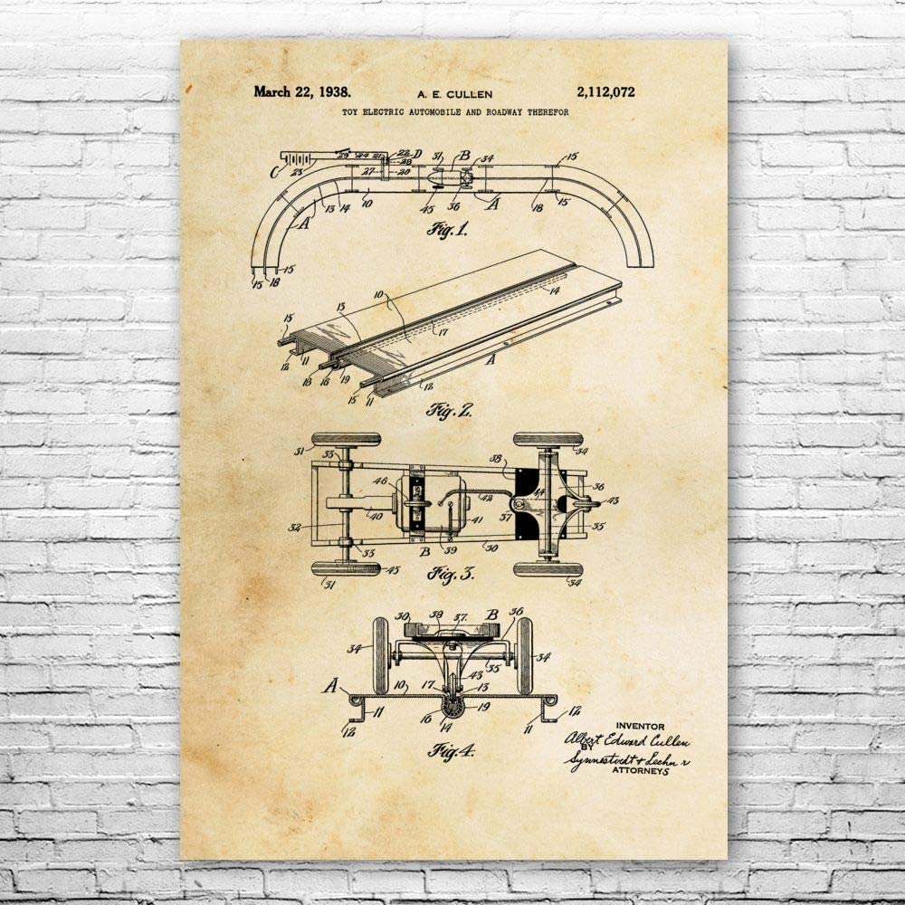 Patent Earth RC Slot Car Poster Print, RC Racer Gift, Hobby Shop
