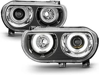 ACANII - For Black 2008-2014 Dodge Challenger HID Version LED CCFL Halo Projector Headlights Driver + Passenger Side