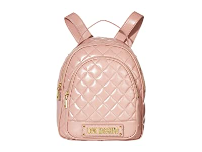 LOVE Moschino Shinny Quilted Backpack (Cipria/Poudre) Backpack Bags