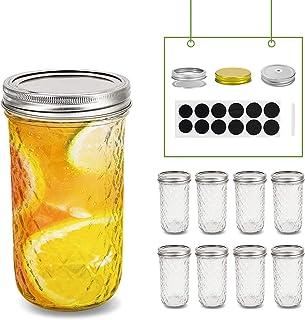 FRUITEAM 24 oz Mason Jars with Lids, Quilted Crystal Jars- Set of 8, Glass Canning Jars Ideal for Fruit & Vegetable Slices...